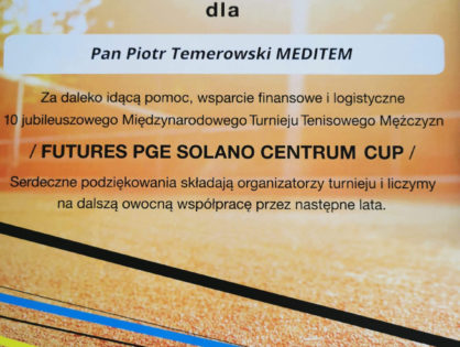 Podziękowania - Futures PGE Solano Centrum Cup 2019